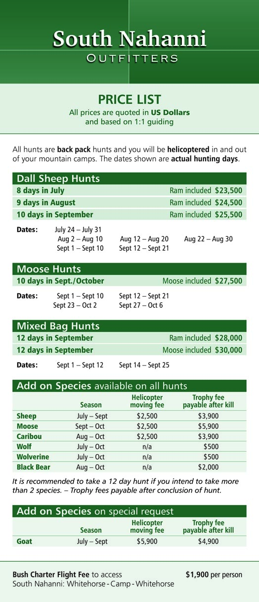 Hunting Trip Price List | South Nahanni Outfitters