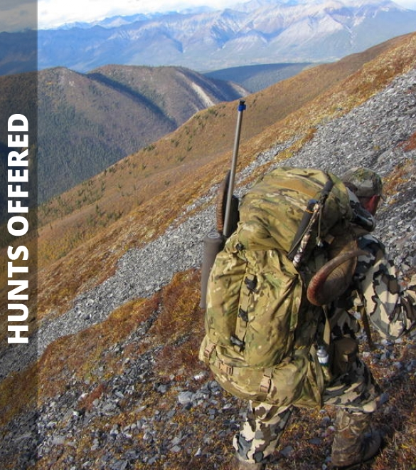 Hunter hiking slope with pack